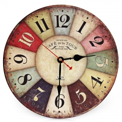 Creative Best Sale Wooden Round Vintage France Paris Colourful Tuscan Style Creative Wood Wall Clock