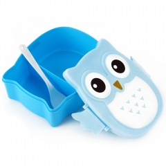 Cute Portable Cartoon Owl Lunch Box Healthy Durable Food Container blue