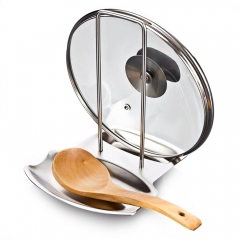 Kitchen Tools Pot Rack Delicate Kitchen Stainless Steel Pan Pot Rack Cover Lid Rack Stand as the picture