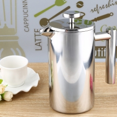 1000ML Stainless Steel Insulated Coffee Tea Maker with Filter Double Wall silver