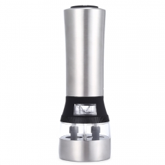 Design 2 in 1 Electric Stainless Steel Pepper Salt Mill Grinder for Home Kitchen Accessory as the picture