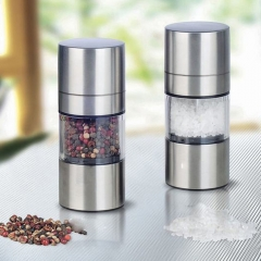 Novetly Home Kitchen Tool High Quality Manual Stainless Steel Salt Pepper Mill Spice Sauce Grinder silver