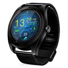 CACGO K89 Bluetooth 4.0 Heart Rate Monitor Smart Watch with Three-axis Accelerometer Loudspeaker black Leather Band