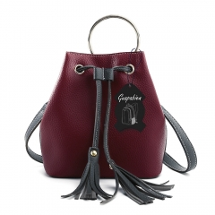Guapabien PU Fashion Shoulder Bucket Bag with Tassel Embellishments red one size
