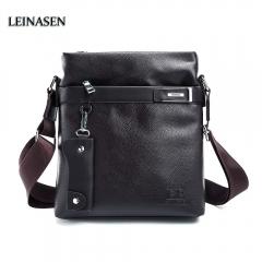 LEINASEN Concise Briefcase Shoulder Crossbody Bag for Men brown one size