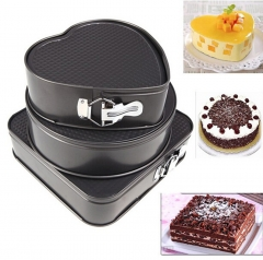 3 Set Non-stick Springform Cake Pan Bakeware Mould with Removable Bottom Round Heart Square Shape Gray one size