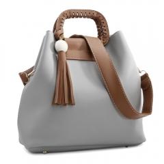 Guapabien PU Leisure Fashion Solid Crossbody Bag for Women gray one size