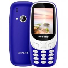 Vkworld Z3310 Quad Band Unlocked Phone 2.4 inch 3D Arc Screen Spreadtrum 6531 Bluetooth 2.0MP Camera blue