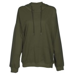 Hooded Long Sleeve Solid Color Pocket Women Hoodie_ARMY GREEN ARMY GREEN s