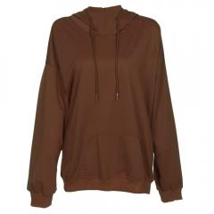 Hooded Long Sleeve Solid Color Pocket Women Hoodie_CAMEL CAMEL S