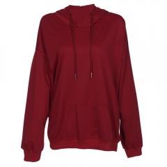 Hooded Long Sleeve Solid Color Pocket Women Hoodie wine red s