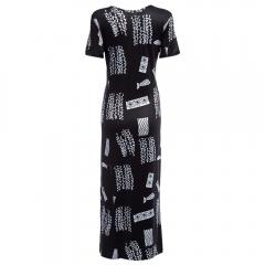 Casual Round Collar Print Pocket Loose Slit Dress for Women BLACK S