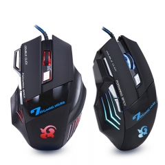USB Wired Gamer Gaming Mouse Mice 2400 DPI 5 Buttons Optical Mouse with LED Lights for PC Laptop balck one size