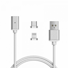 Magnetic Micro Usb Data Cable For Apple iPhone5 6 7 Charging Cable Android  Samsung ZTE Mobile Phone silver