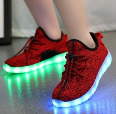 SWISSANT® Kids Shoes  LED USB Rechargeable Light Flashing  Sneakers Sport Leisure Unisex Children RED 7.5