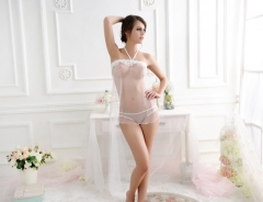 Women See-through Sexy Lingerie  Nightwear Lace  Sleepwear Set SWISSANT® white one size