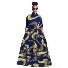 Women's Fashion African Print A -Line Maxi Dress Print Dress SWISSANT® as picture l