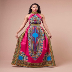 Women's Fashion African Print Halter A-line Maxi Dress Plus Size SWISSANT® as picture m