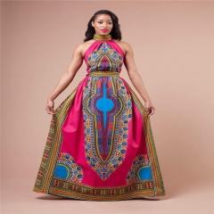 Women's Fashion African Print Halter A-line Maxi Dress Plus Size SWISSANT® as picture m
