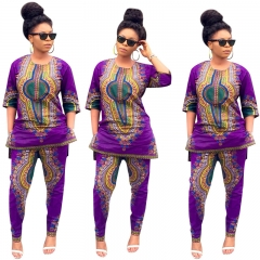 Women Summer African National Print Casual Straight Print Tops+Pants SWISSANT® as picture s