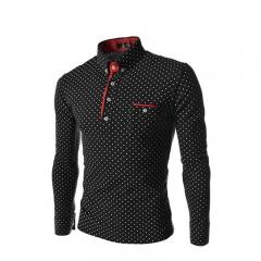 HOT SALE Trendy Stand Collar Long Sleeve Dot Print Shirt for Men SWISSANT® black l