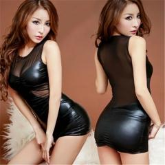 Sexy Lingerie Women's Leatherwear Sleeveless Dress SWISSANT® black one size