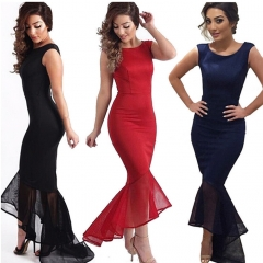 Party Dress Evening Dress Slim Fish Tail Formal Dress Sexy Long Design  Evening Gown SWISSANT® dark blue s