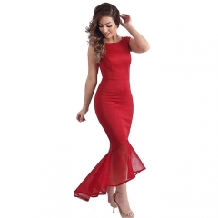 Party Dress Evening Dress Slim Fish Tail Formal Dress Sexy Long Design  Evening Gown SWISSANT® red s