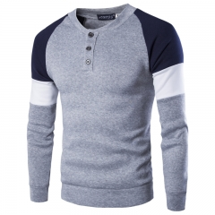 Spring and summer new men 's sets of sweater fashion sweater coat Gray L