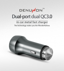 DENUXON® 48W dual-port dual QC3.0 metal car charger golden same size