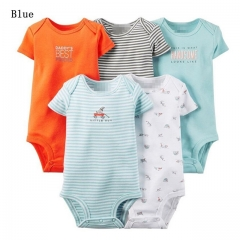 Carters 5PCS Newborn Baby Rompers Jumpsuit Cotton Infant Romper Short Sleeve Boy Girl Baby Clothing blue 0-6m