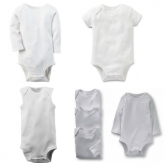 Newborn Baby Clothes White Cotton Infant Romper Long Sleeve Baby Boys/Girls Clothing blue 6-9m