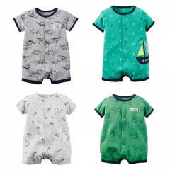 Carters Newborn Baby Boy Clothes 100% Cotton Infant Romper Short Sleeve Baby Romper Jumpsuit green 0-6m