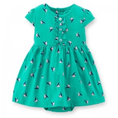 Fashion Carters Sleeceless Princess Dress Cartoon Printed Cute Baby Girl Dress Cotton Infant Clothes green 6-9m