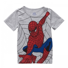 Fashion Spiderman Printing Baby Boy T-shirt Summer Short Sleeve Kid Tee Cotton Children Clothing gray 5T