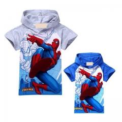 New Summer 2016 Boys T-shirt Kids Baby Tops Spiderman Short Sleeve Cartoon Children Clothing gray 120
