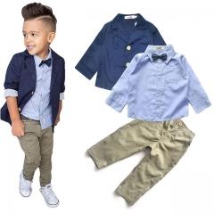 Children's Clothing Sets Baby Boy Suit Long Sleeve Shirts+Jacket +Kid Pants 3pcs Cotton Boy Suit Set one color 5T