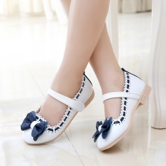 Fashion Girl Children's Shoes Lovely Bowknot Princess Shoes Low To Help Anti-skid Girl Dress Shoes White 33