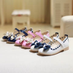 Fashion Girl Children's Shoes Lovely Bowknot Princess Shoes Low To Help Anti-skid Girl Dress Shoes Blue 26