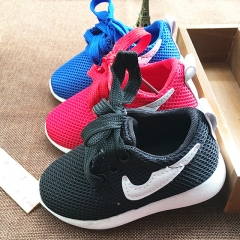 Fashion Nike Children Shoes Flat Heel Breathable Boy Sports Shoes Mesh Girl Casual Brand Shoes Black black 24