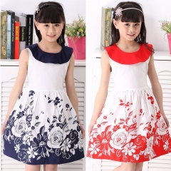 Fashion Beautiful Princess Dress Cute Sleeveless Printing Flower Girl Dress Round Neck A Word Skirt red 140cm