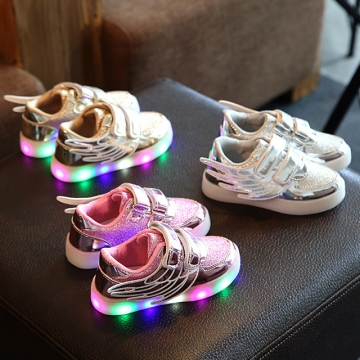 Fahison Athletic LED Light Up Children Shoes Breathable Baby Girl Wings Shoes Kid Sneakers gold 29