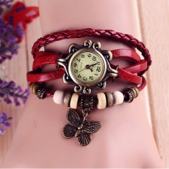 Fashion Children 's Watches PU Leather Weaving Bracelet Girl Quartz watches Retro Ladies Watches red