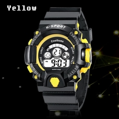 Children 's Watches Boys Girls waterproof Sports LED Electronic Digital Watch for Students yellow