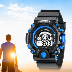 Children 's Watches Boys Girls waterproof Sports LED Electronic Digital Watch for Students blue