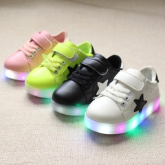 Fahison Breathable LED Light Up Children Shoes Soft-soled Flat  Girl Shoes Boy Anti-skid Sneakers black 21