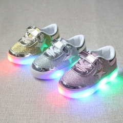 Fahison Breathable LED Light Children Shoes Soft-soled Flat  Anti-skid Baby Girls Boys Casual Shoes pink 26