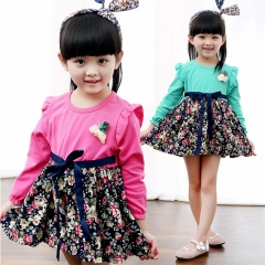 Fashion Long Sleeve Baby Girl Princess Dress Cotton Cute Printing Girl Children Dress red s