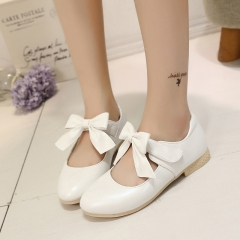 Fashion Girl Children's Shoes Lovely Bowknot Princess Shoes Low To Help Anti-skid Girl Dress Shoes white 30