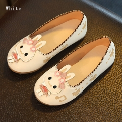 Casual Cute Girl Children's Shoes Hello Kitty Princess Shoes Flat bottom Anti-skid Girl Dress Shoes white 26